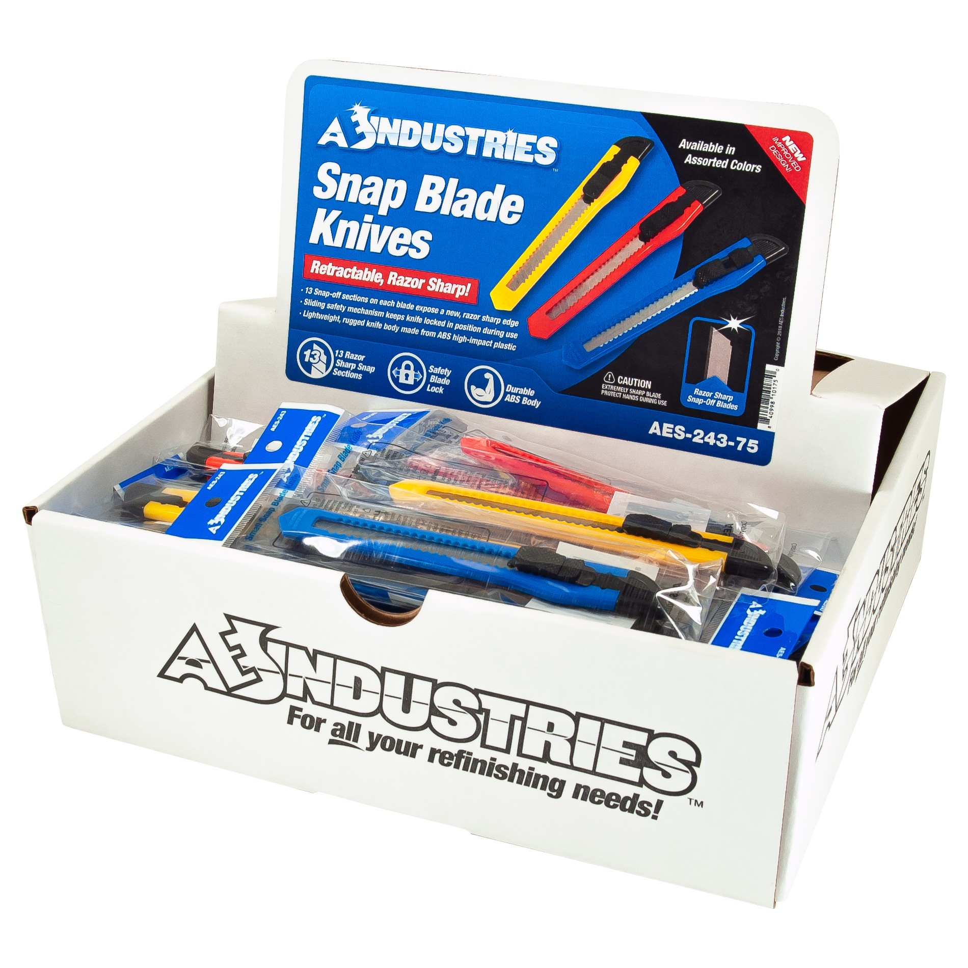Pencil-Size Snap-Off Blade Utility Knife Display (75pc)