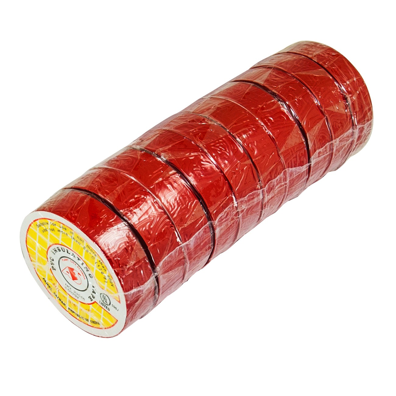 "50ft 3/4"" Electrical Tape - Red (10 Rolls)"