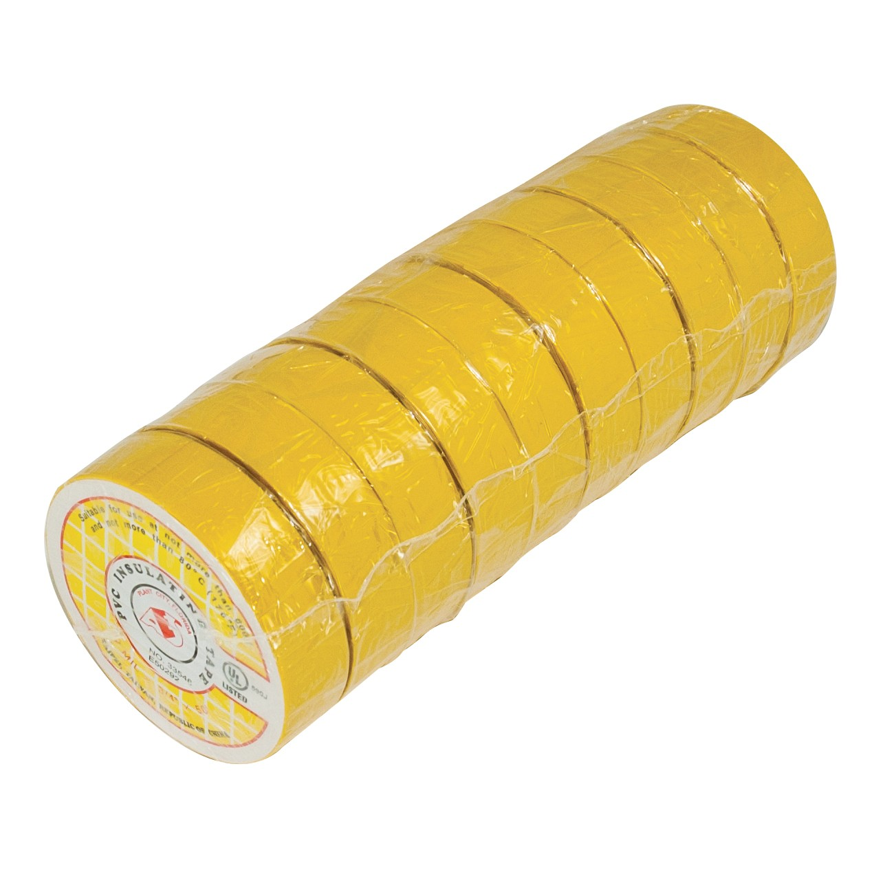 "50ft 3/4"" Electrical Tape - Yellow (10 Rolls)"
