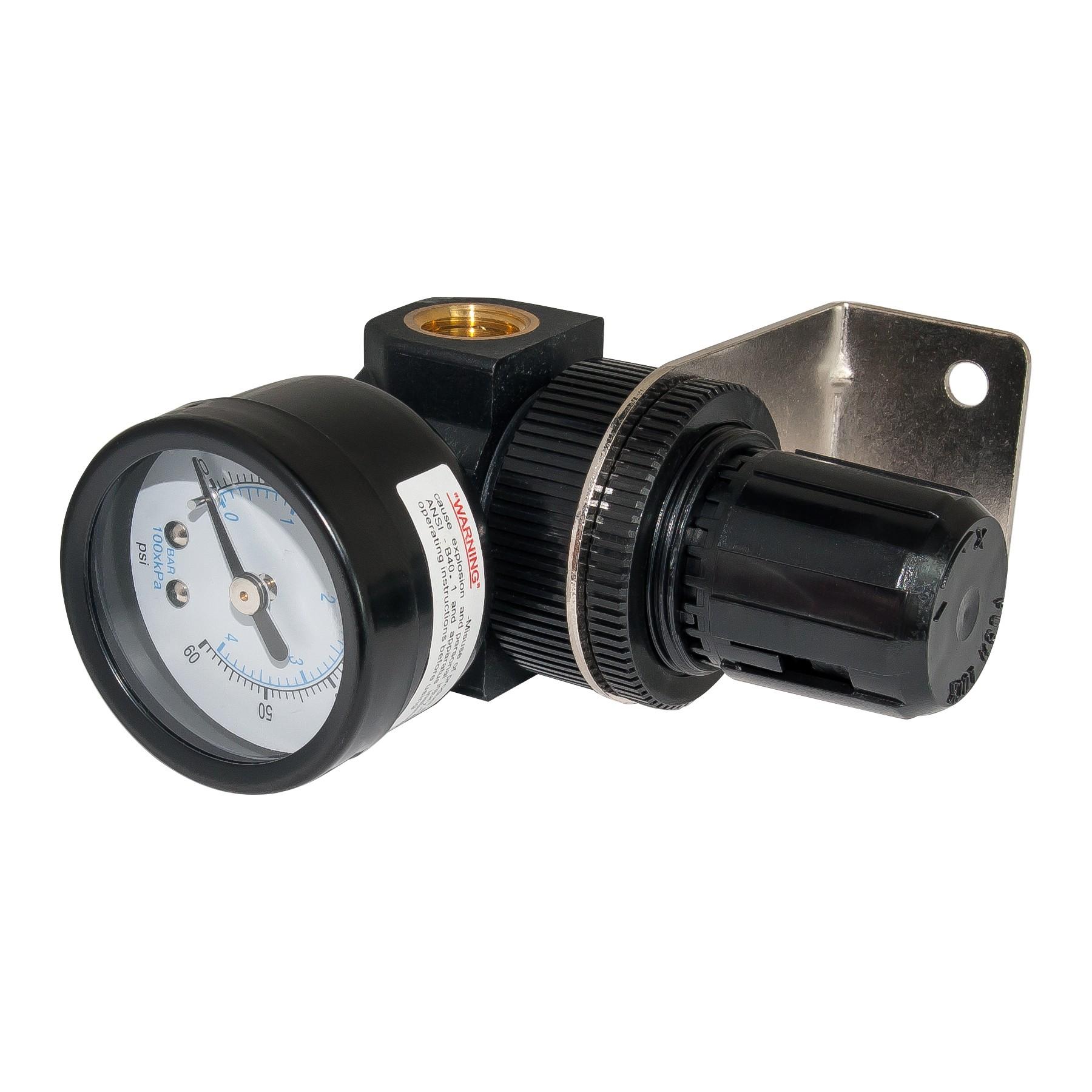 Mini Diaphragm Air Regulator, 60psi Gauge