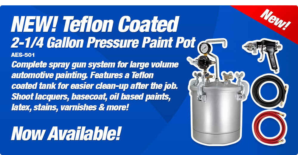 NEW! 2-1/4 Gallon Pressure Paint Pot, Teflon Coated